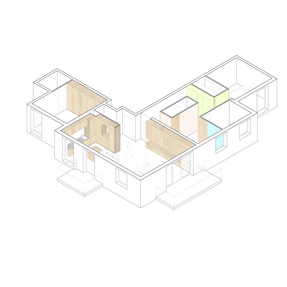 Axonométrie le el rénovation appartement strasbourg